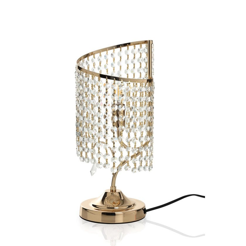 Nacan Table Lamp, French Gold & Clear – 16x40 cms