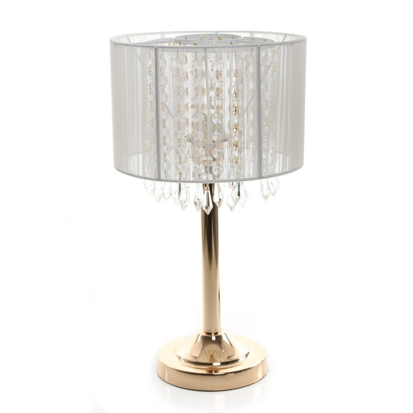 Ray Table Lamp, French Gold & Clear – 25x45 cms