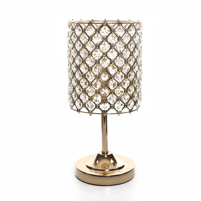 Abaca Table Lamp, French Gold – 18x40 cms