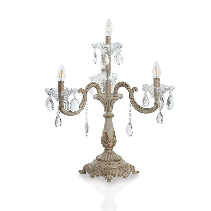 Silvia Table Lamp, Cream & Gold – 60x59 cms