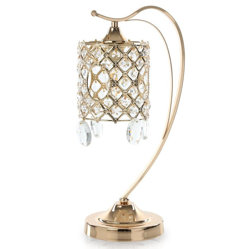 Abaca Hanging Table Lamp, French Gold – 12x43 cms