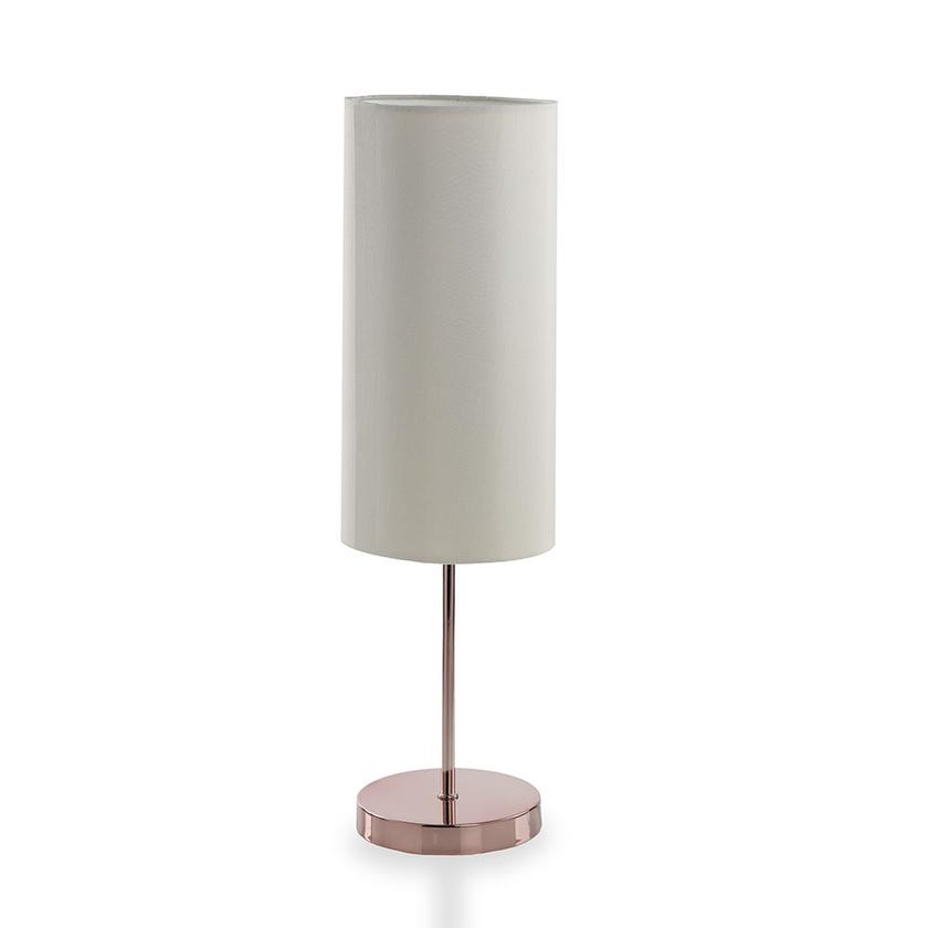 Rose Finish Metal Table Lamp, Cream - 48 cms