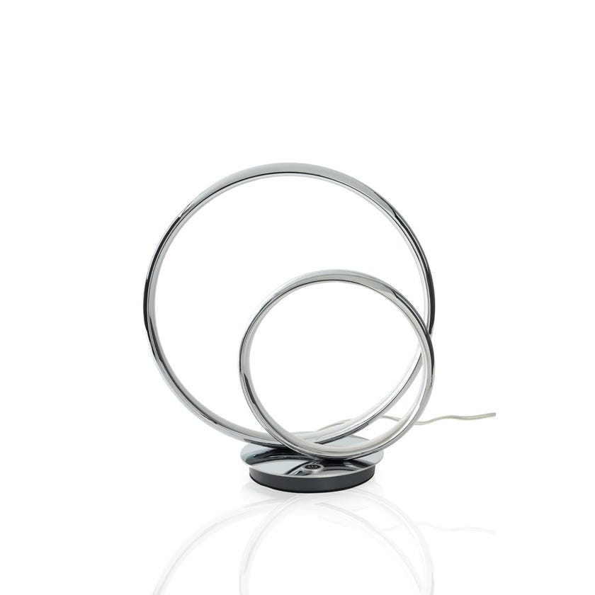 Twin Ring Table Lamp, Chrome - 30x32 cms