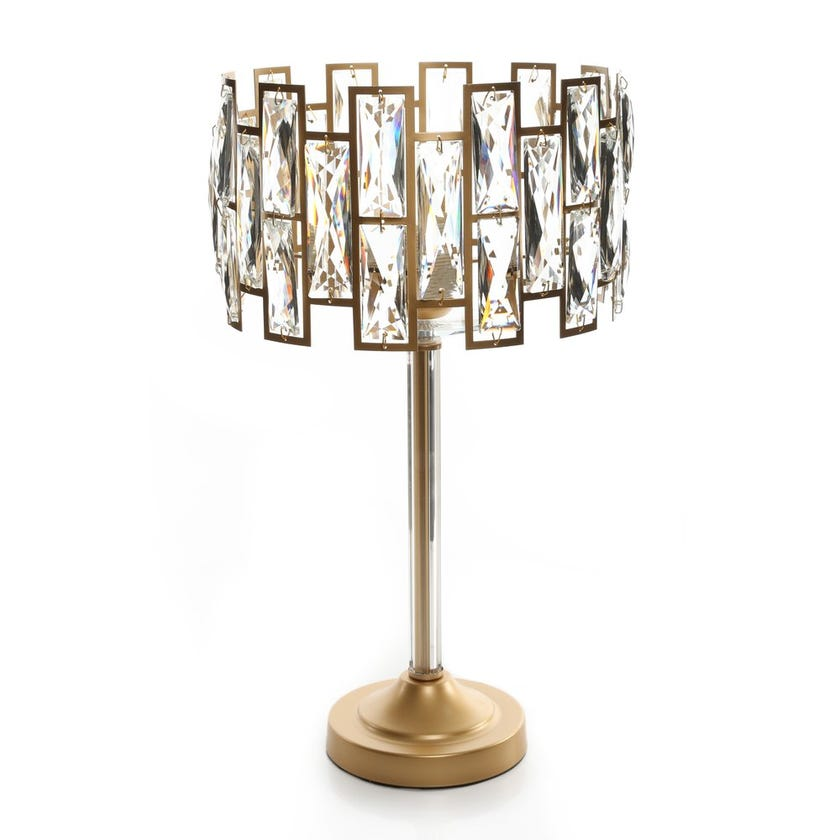 Studded Crystals Table Lamp, Gold & Clear – 28x50 cms