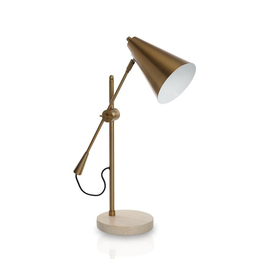 Marble Table Lamp, Brown - 58 cms