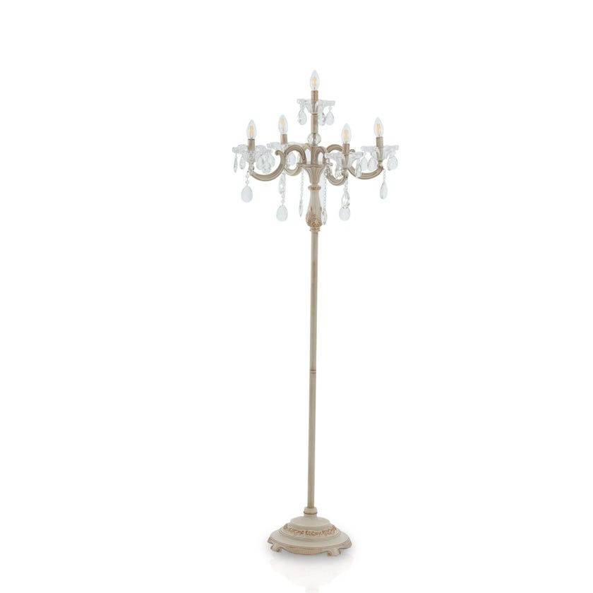 Silvia Floor Lamp, Cream & Gold – 60x165 cms