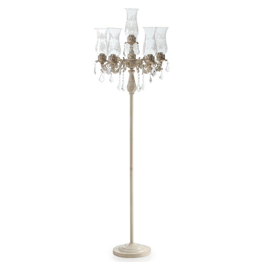 Georgian Floor Lamp, White & Gold – 50x165 cms