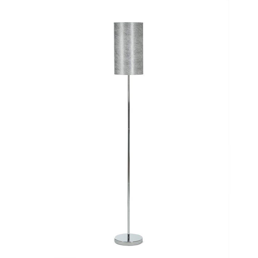 Chrome Finish Metal Floor Lamp, Silver - 155 cms