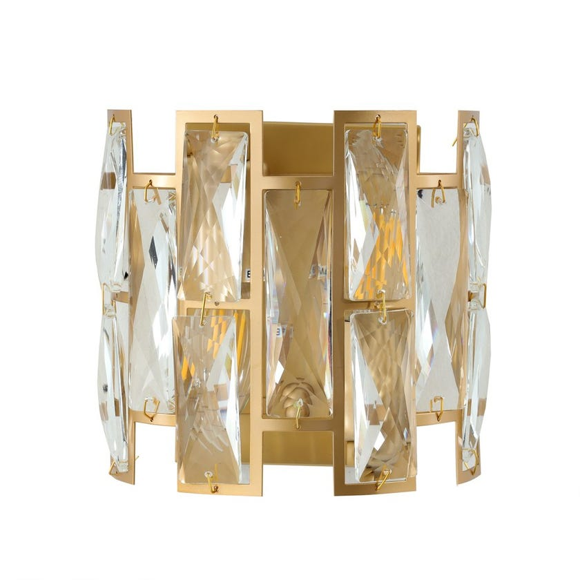 Studded Crystals Wall Lamp, Gold & Clear – 17x17 cms