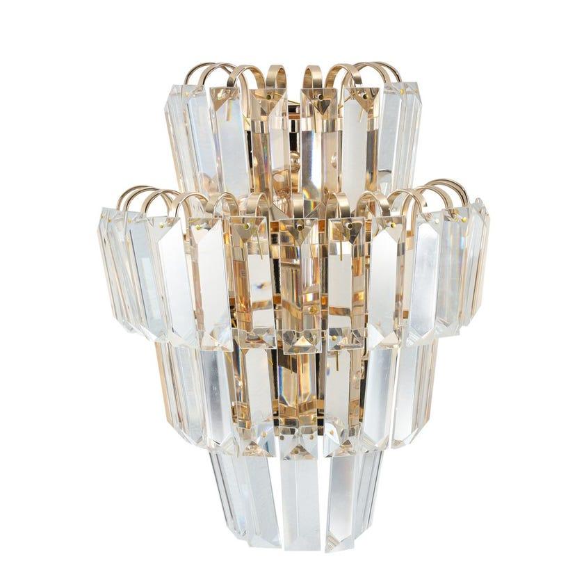 Klismos Wall Lamp, French Gold & Clear – 22x14x30 cms