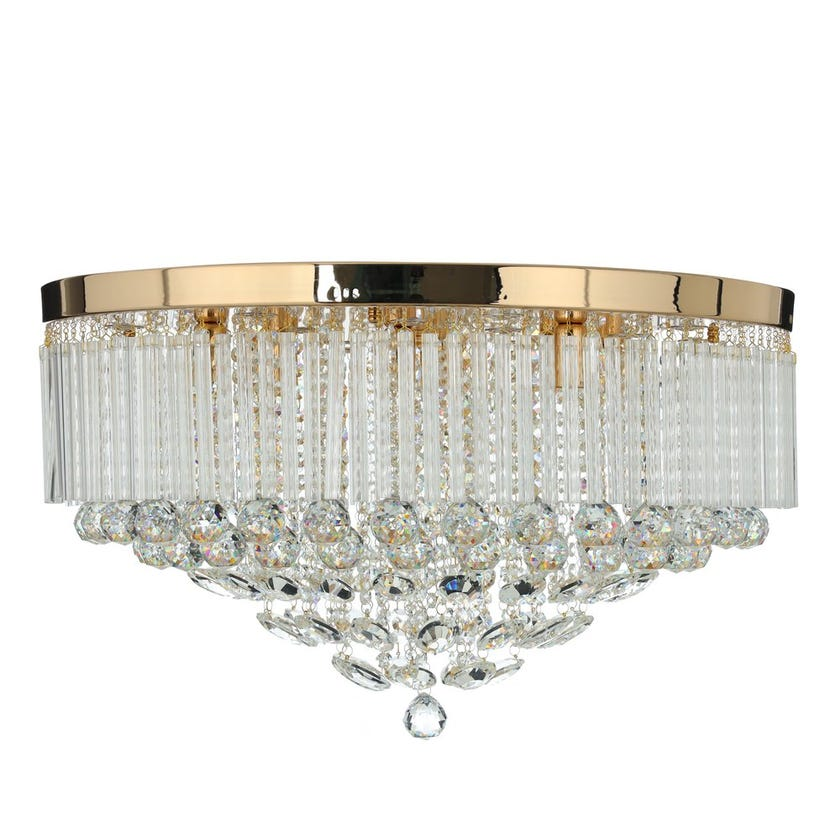 Spindle Ceiling Lamp, French Gold & Clear – 70x39 cms