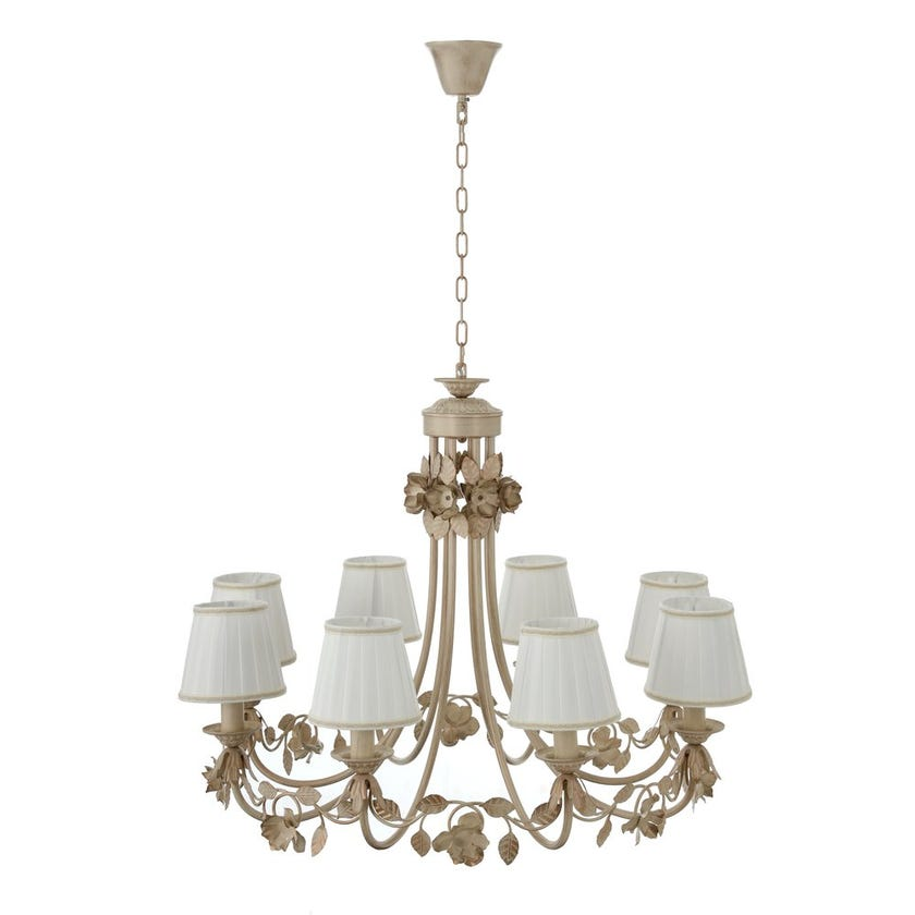 8-Light Pendant Lamp, Brushed Gold & White – 87x64 cms
