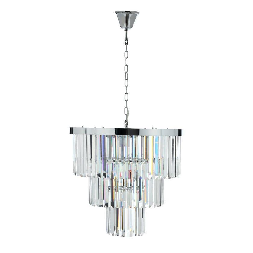 Niagara Ceiling Lamp, Chrome & Clear – 53x48 cms
