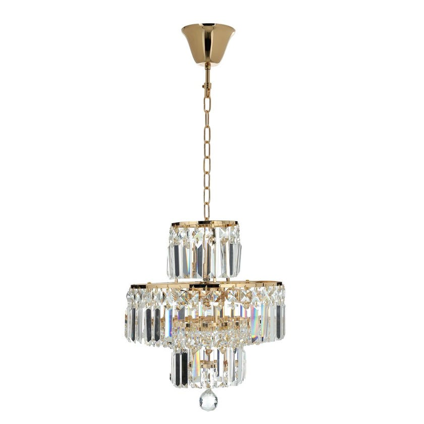Burney Ceiling Lamp, French Gold & Clear – 30x40 cms