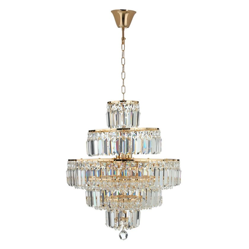 Burney Ceiling Lamp, French Gold & Clear – 52x60 cms