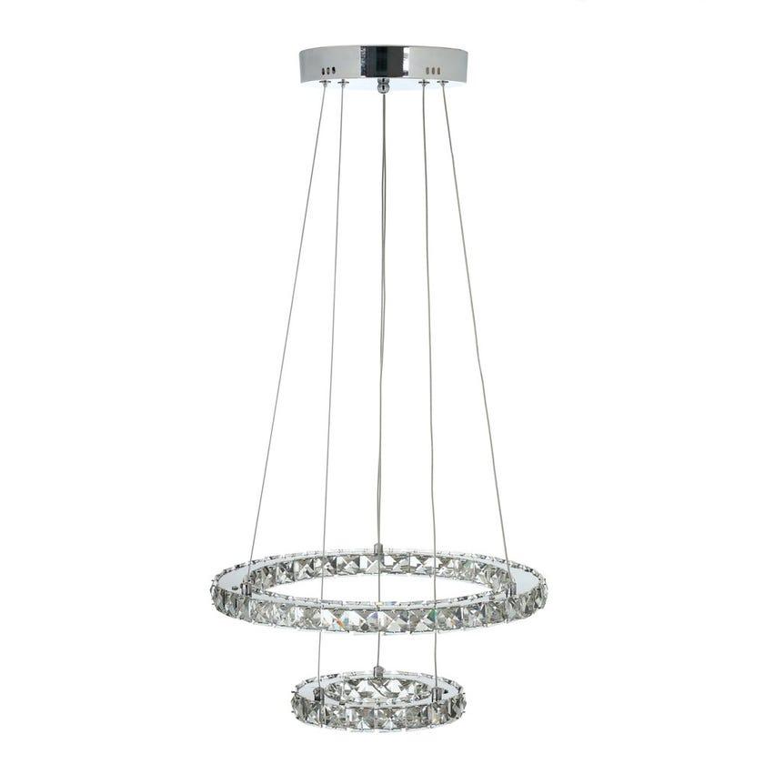 Blatche Pendant Lamp, Chrome & Clear – 42x80 cms