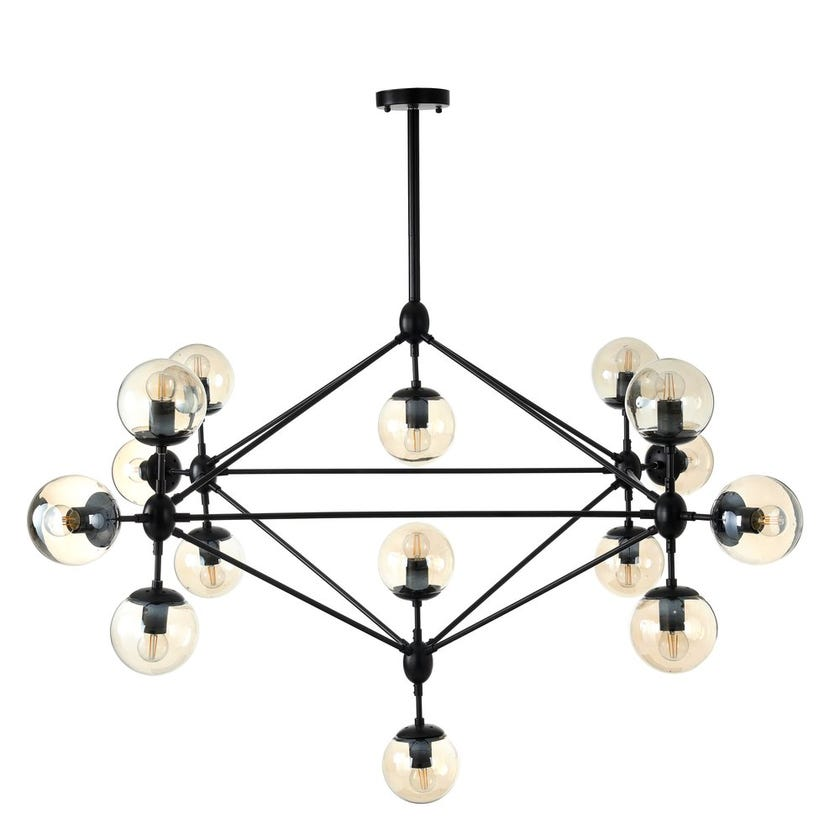 Ball Pendant Lamp, Black & Cognac – 75x48 cms