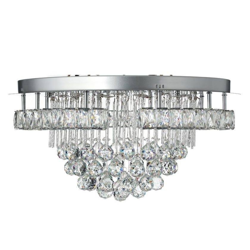 Rose Crystal Ceiling Lamp, Chrome & Clear – 60x30 cms