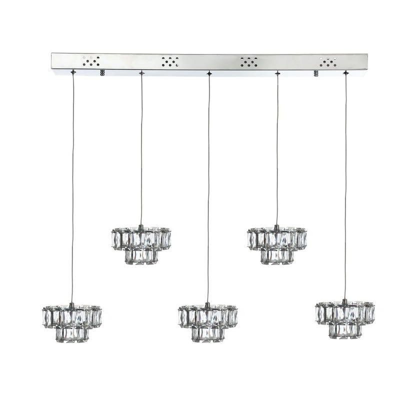 Oriana Pendant Lamp, Chrome & Clear – 85x100 cms