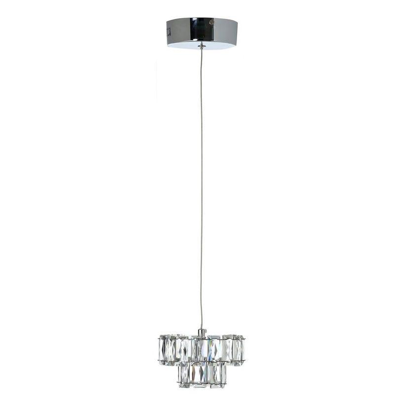 Adley Pendant Lamp, Chrome & Clear – 15x9 cms