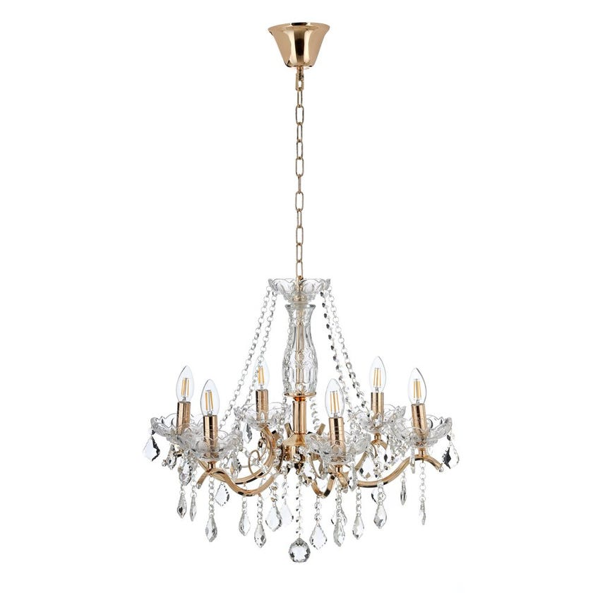 Jack Pendent Lamp, French Gold & Clear – 58x120 cms