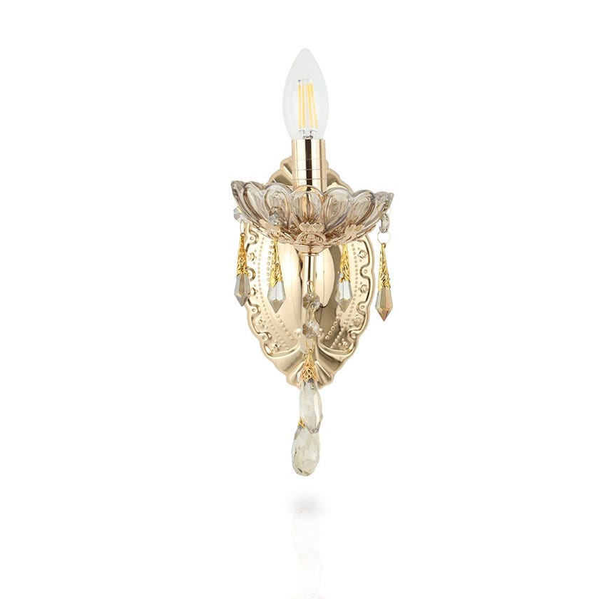 Wall Lamp, French Gold & Cognac – 12x33 cms