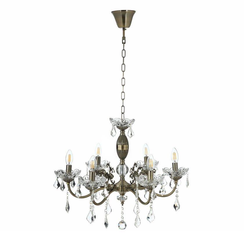 Crystal Glass Pendant Lamp, Antique Brass - 63x50 cms