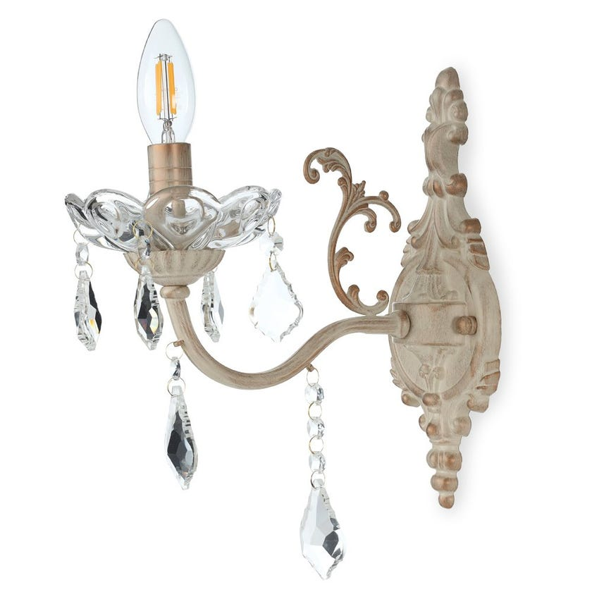 Wall Lamp, Antique Brass & Clear – 13x30 cms