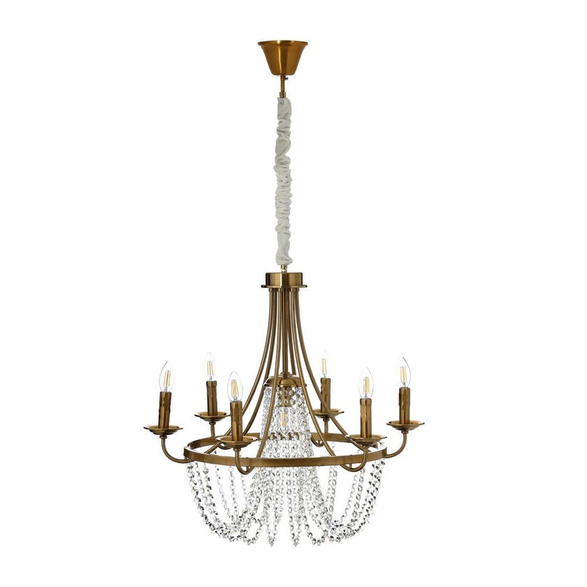 Crystal Danglers Pendant Lamp, Antique Copper & Clear – 68x60 cms