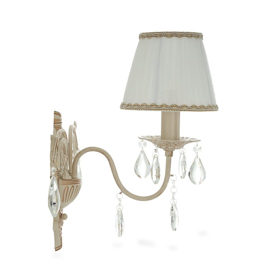 Silvia Wall Lamp with Lampshade, Cream & Gold – 16x37 cms