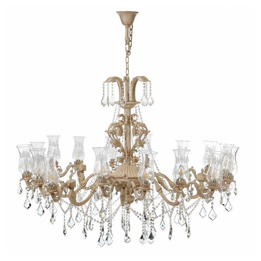 Georgian Pendant Lamp, White & Gold – 143x108 cms