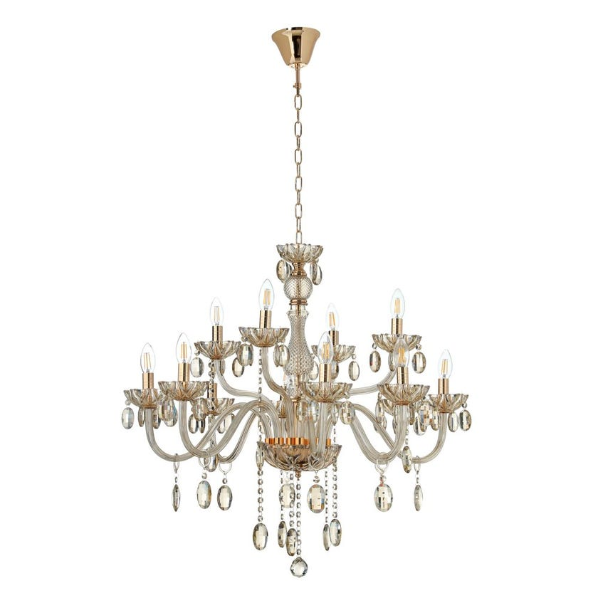 Victoria 12-Lights Chandelier, French Gold & Cognac – 78x75 cms