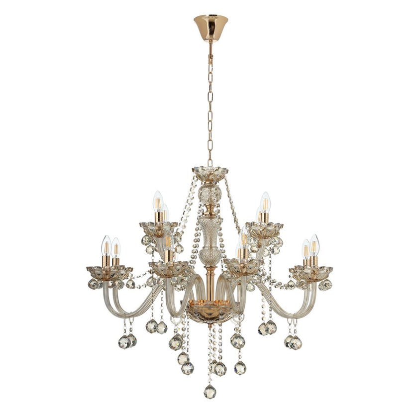 Alamere Chandelier, French Gold & Cognac – 81x72 cms
