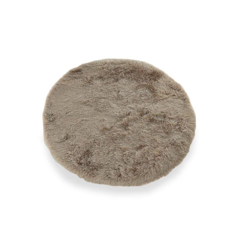 Shaggy Handmade Round Carpet (Beige, Polyester, 160 cms)