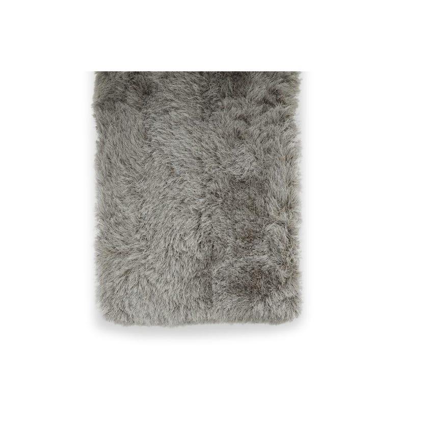 Shaggy Handmade Rectangle Carpet (Silver, Polyester, 80 x 150 cms)