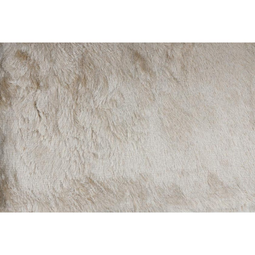 Solid Polyester Rug - White with Gold Lurex, 200 x 140 cms