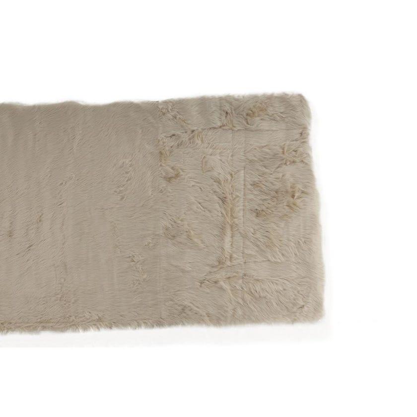 Sheepskin Woven Carpet (Beige, Polyacrylic, 80 X 200 cms)