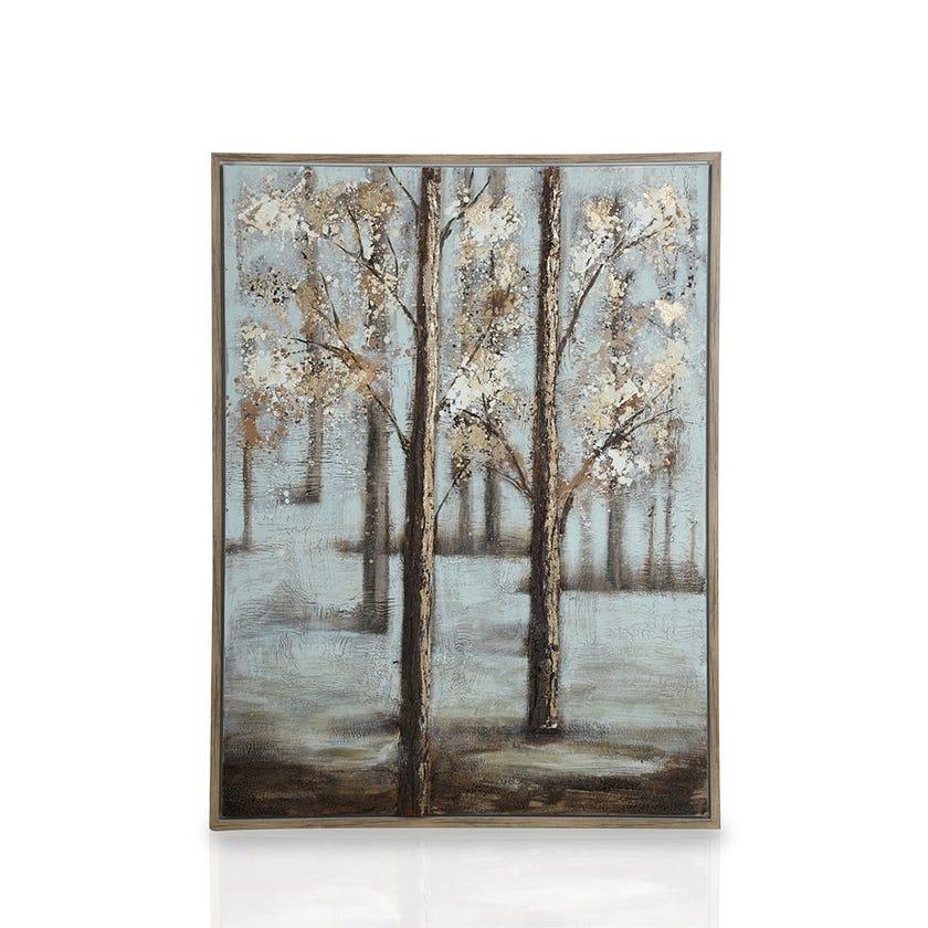Framed Canvas Art, 3D Tree Trunk (90 cm X 120 cm - Multicolour/Gold Foil)