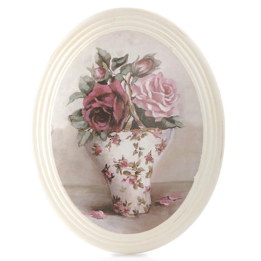 Rose Vase Framed Art, Cream – 17x22 cms