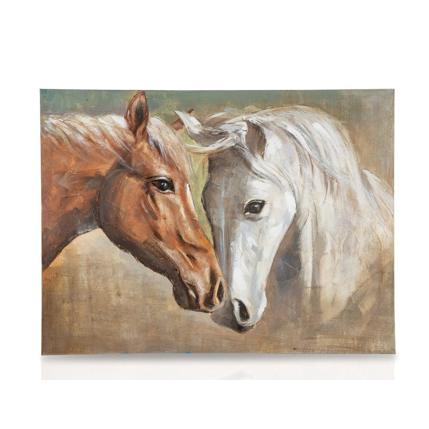 Brown and White Horse Canvas Art (90 x 120 cms, Multicolour)