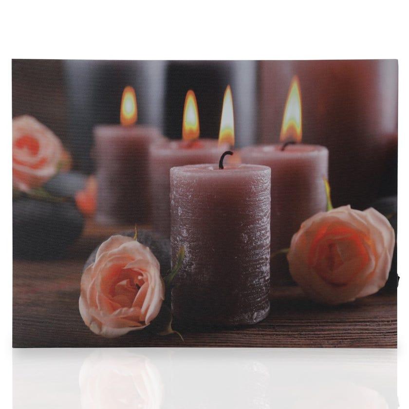 Candles 3D Canvas Art with LED, Multicolour – 30x40 cms