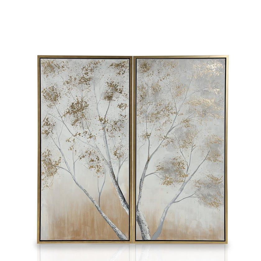 Framed Canvas Art, Branch (60 cm X 120 cm - Multicolour/Gold Foil) Set of 2