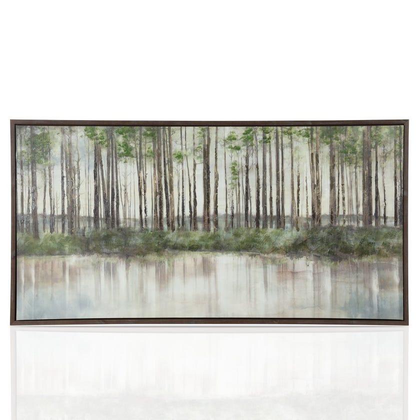 Swamp Framed Oil Painting, Multicolour – 100x200 cms