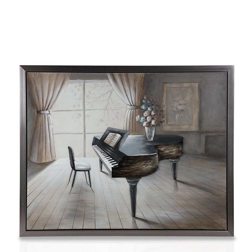 Framed Canvas Art, 3D Piano (150 cm X 120 cm - Multicolour)