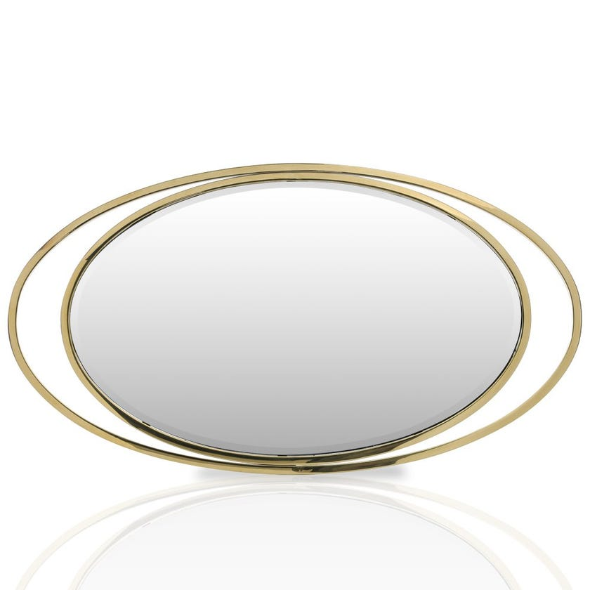 Sauterne Stainless Steel Mirror, Clear & Gold –123x68 cms