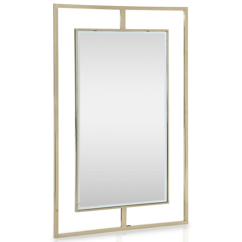 Stainless Steel Clear Mirror, Clear & Gold – 120x80 cms