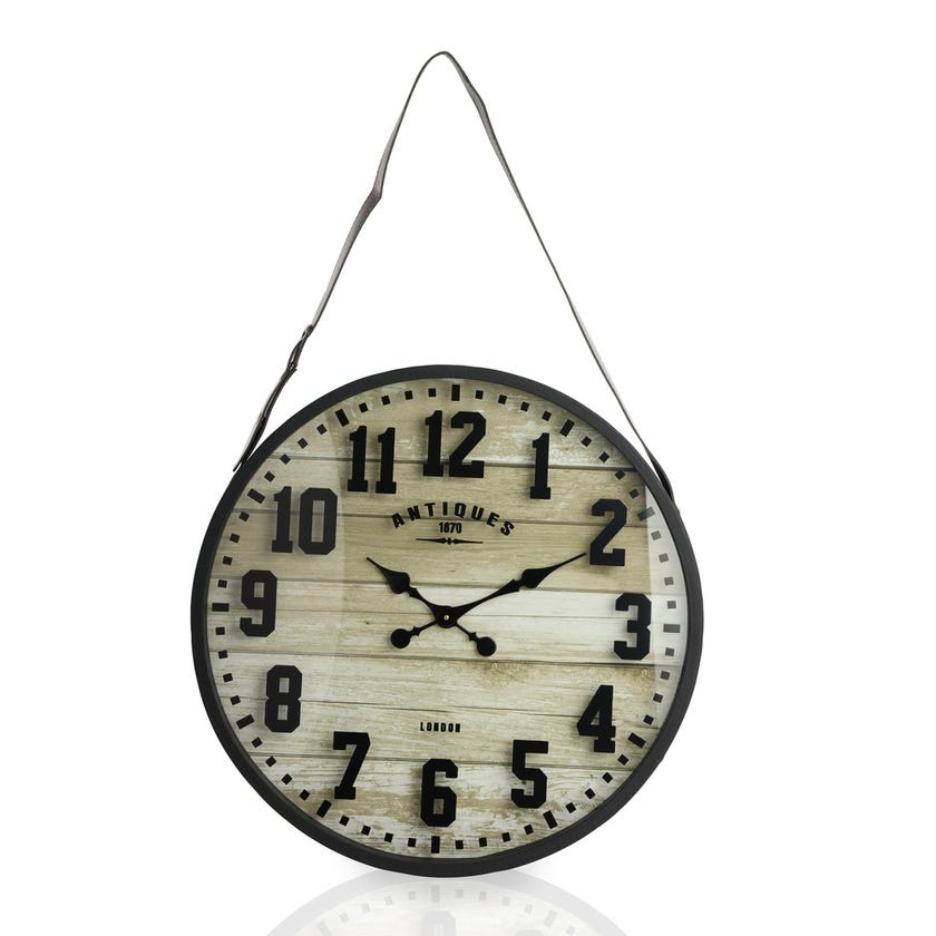 Hanging Wall Clock - Brown and Black