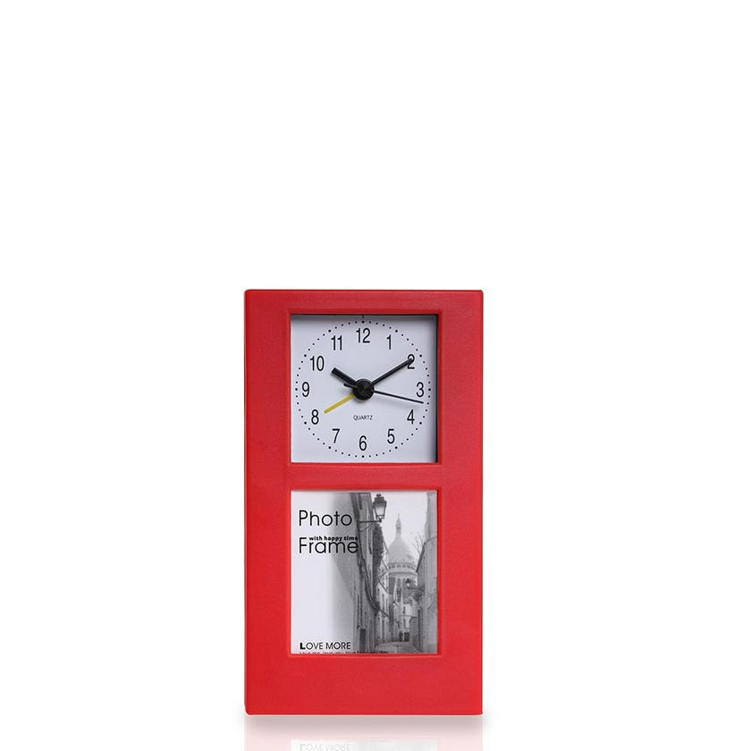 Table Alarm Clock with Photo Frame (Red)