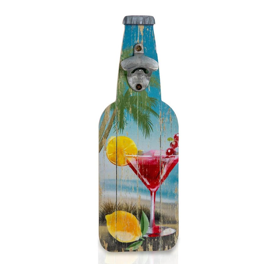 Wall Décor Wooden Bottle with Opener - 39.7 cms