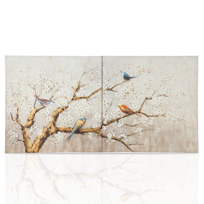 Birds of Paradise Framed Art, Multicolour – 100x100 cms, Set of 2